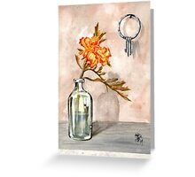 marigold in antique jar with old keys, 1 of 2 Greeting Card