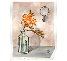 marigold in antique jar with old keys, 1 of 2 Poster