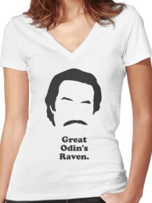 Ron Burgundy - Great Odin's Raven! Women's Fitted V-Neck T-Shirt