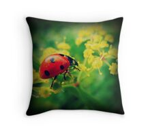 ladybug - vintage - yellow flowers Throw Pillow