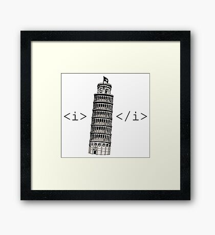 The Leaning Tower of Pisa Italic HTML Framed Print