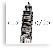 The Leaning Tower of Pisa Italic HTML Canvas Print