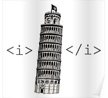 The Leaning Tower of Pisa Italic HTML Poster
