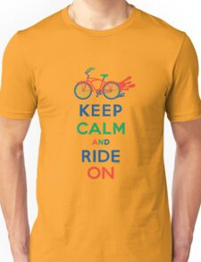 Keep Calm and Ride On - cruiser - primary colors T-Shirt