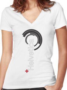 Helvetica + Women's Fitted V-Neck T-Shirt