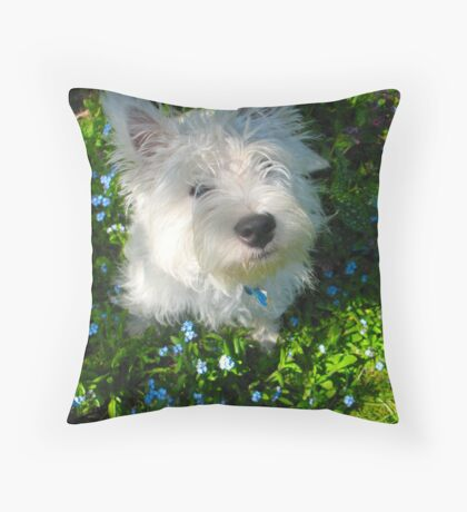 Puppy in the Patch Throw Pillow