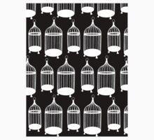Black & White Bird Cage Pattern One Piece - Short Sleeve