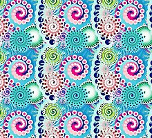Fractal swirl pattern, turquoise, pink, multi by Marymarice