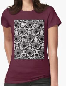 Black and White Circle Womens Fitted T-Shirt