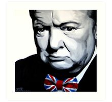 Sir Winston Churchill with Union Jack bow-tie Art Print
