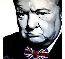 Sir Winston Churchill with Union Jack bow-tie Photographic Print
