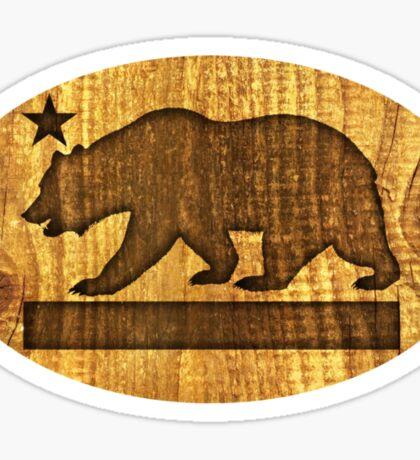 California Bear Wood Design Sticker