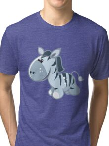 Funny cartoon zebra Tri-blend T-Shirt