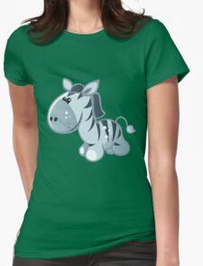 Funny cartoon zebra Womens Fitted T-Shirt
