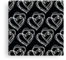 Black and White Vintage Heart Pattern Canvas Print