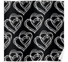 Black and White Vintage Heart Pattern Poster