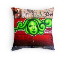 oh beautiful green medusa Throw Pillow