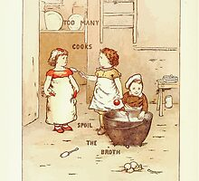 Old Proverbs with New Pictures Lizzie Laweson and Clara Mateaux 1881 0052 Too Many Cooks Spoil the Broth by wetdryvac