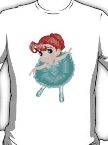Cute Little Blue Vector Ballerina T-Shirt