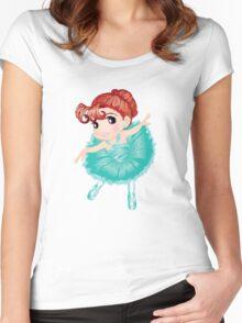Cute Little Blue Vector Ballerina Women's Fitted Scoop T-Shirt