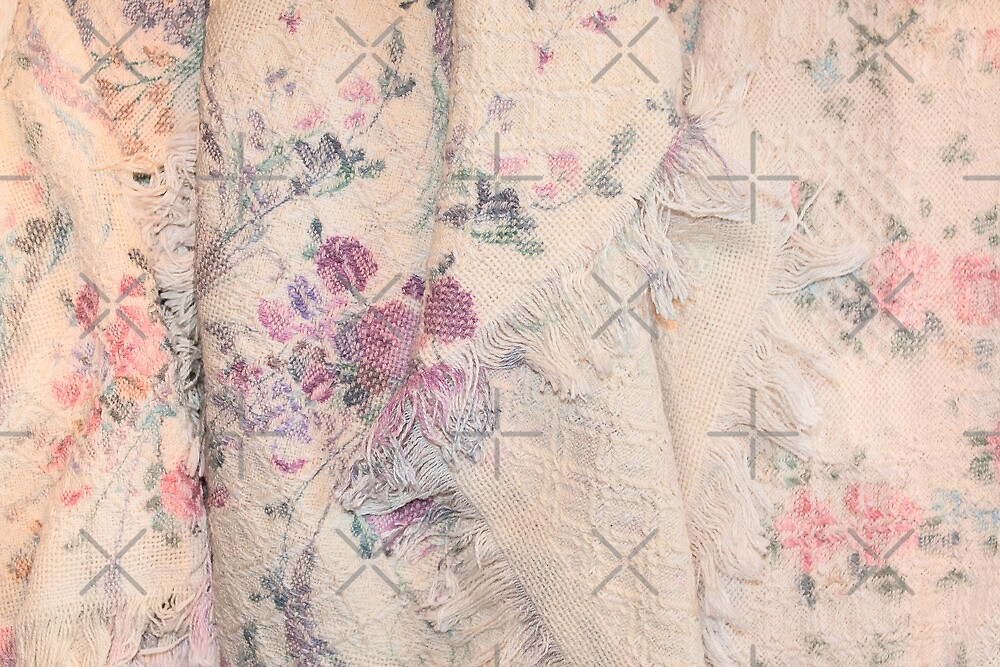 Pink Antique Blanket with Roses by Stacey Lynn Payne