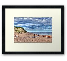 Beach Under Cloudy Skies Framed Print