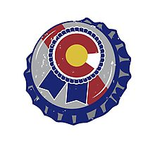 Colorado Blue Ribbon Bottle Cap Photographic Print