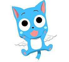 Blue Happy Anime Kitten Cat Photographic Print