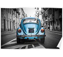 Old blue car Poster