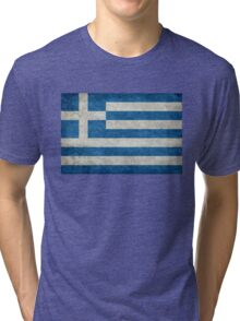 Flag of Greece - Retro vintage Tri-blend T-Shirt