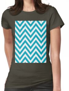 Half Blue and White Chevron Pattern with Yellow Color Womens Fitted T-Shirt
