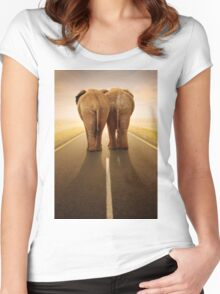 Conceptual - Going away together / travel by road Women's Fitted Scoop T-Shirt