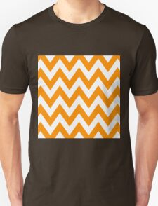 Half Orange and White Chevron Pattern with Blue Color T-Shirt