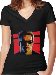 Terminator Triangulation Vector Women's Fitted V-Neck T-Shirt
