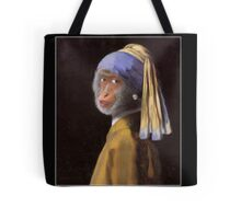 Chimp with the Pearl Earring Tote Bag