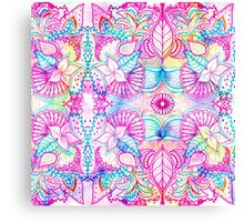 Bright psychedelic pink blue floral doodle pattern Canvas Print