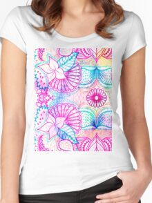 Bright psychedelic pink blue floral doodle pattern Women's Fitted Scoop T-Shirt