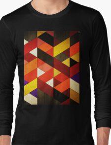 Vintage Retro Geometric Orange Brown Pattern Long Sleeve T-Shirt