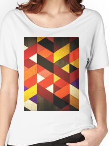 Vintage Retro Geometric Orange Brown Pattern Women's Relaxed Fit T-Shirt