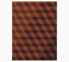 Geometric Brown Pattern One Piece - Short Sleeve
