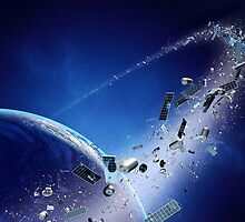 Space junk (pollution) orbiting earth by johanswanepoel