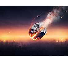 City destroyed by meteor shower Photographic Print