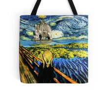 The Scream on the Starry Night Tote Bag