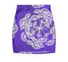 Floral Pattern, Queen Annes Lace, bright purple Mini Skirt