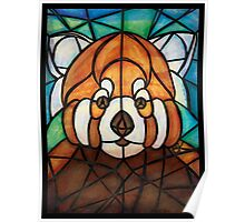 Stained Glass Red Panda Poster