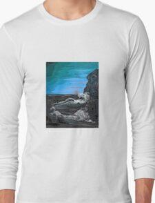 'Raging sea - Old man of the Rocks' Long Sleeve T-Shirt