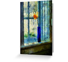 Blue Cobalt Vase With Daffodil Greeting Card