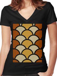 Vintage Retro Polkadot Brown Pattern Women's Fitted V-Neck T-Shirt