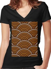 Brown Wave Women's Fitted V-Neck T-Shirt