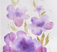 Violet Abstract Flowers, Original Watercolor Painting For Your Home Decor. For Sale, see Artist Notes by Oleksandr Levin